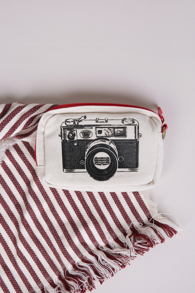 Camera Pouch with Raffles Palm Logo