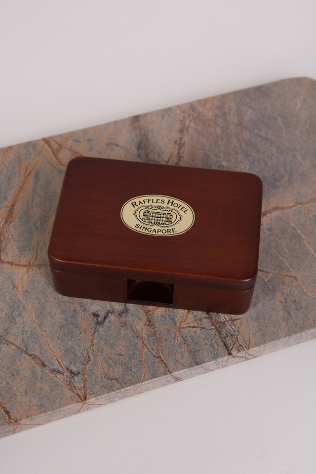 Wooden Engraved Namecard Box with Raffles Logo on Metal Plate
