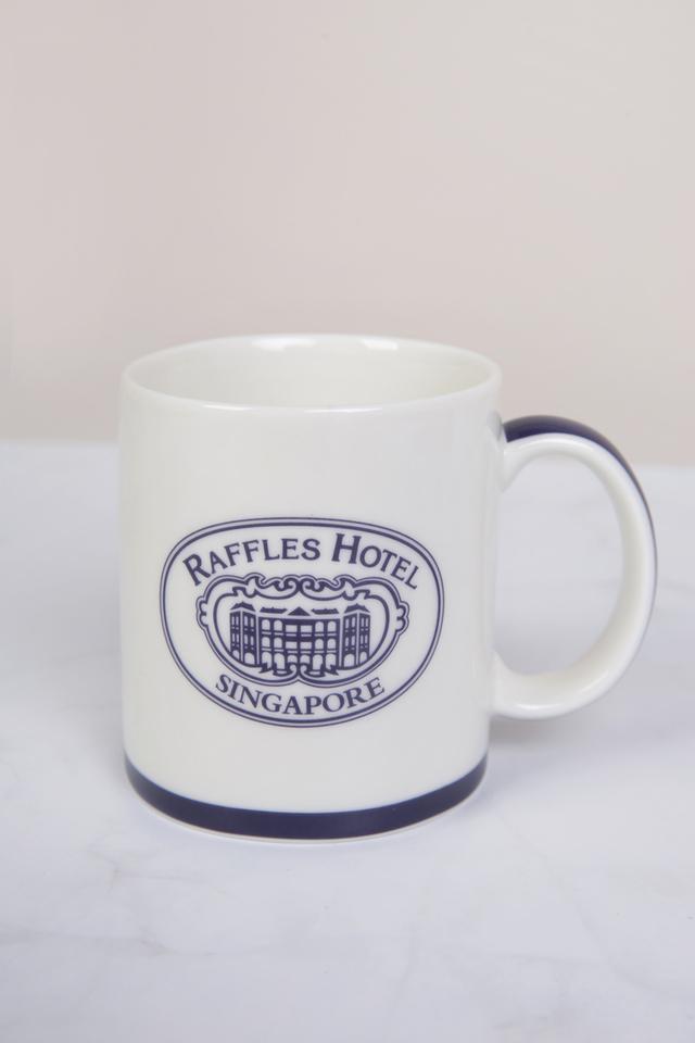Raffles Coffee Mug with Blue Trim