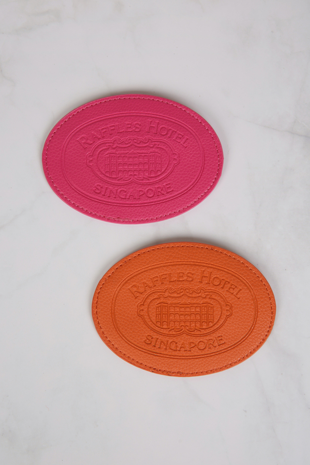 Leather Embossed Oval Coin Pouch with Raffles Design in Assorted Colours