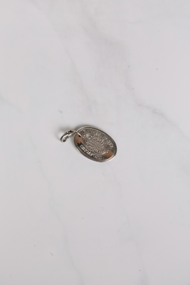 Sterling Silver Large Oval Charm with Raffles Design in own Box