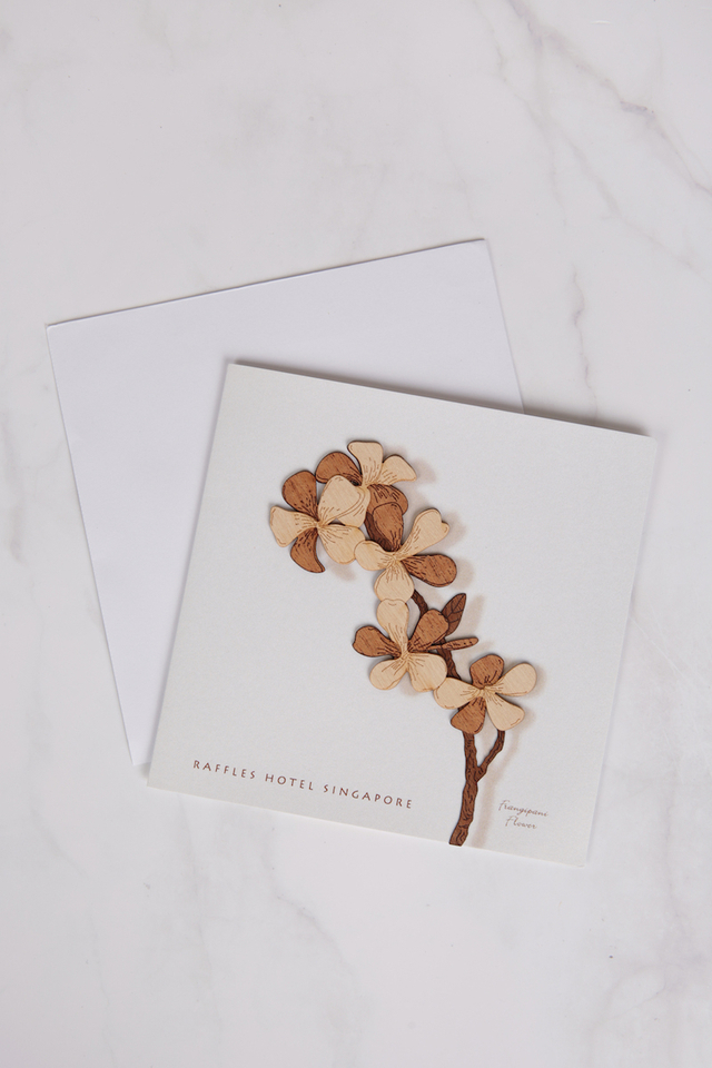 Greeting Card with Wood Cut Frangipani Design with Envelop