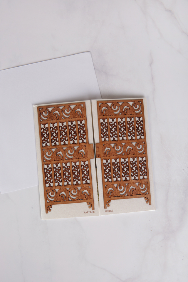 Greeting Card with Wood Cut Raffles Gate Design with Envelope