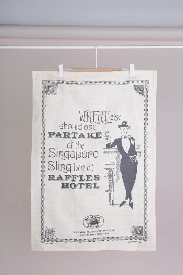 Fine Linen Tea Towel in Raffles Partake Design