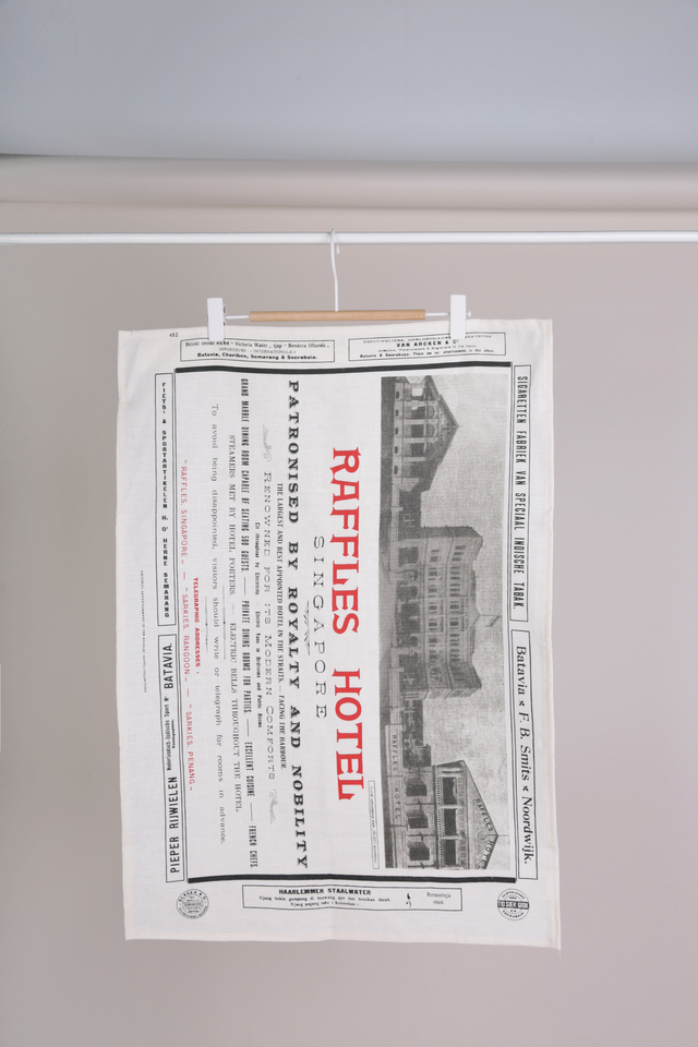 Fine Linen Tea Towel with Raffles Advertisement Design