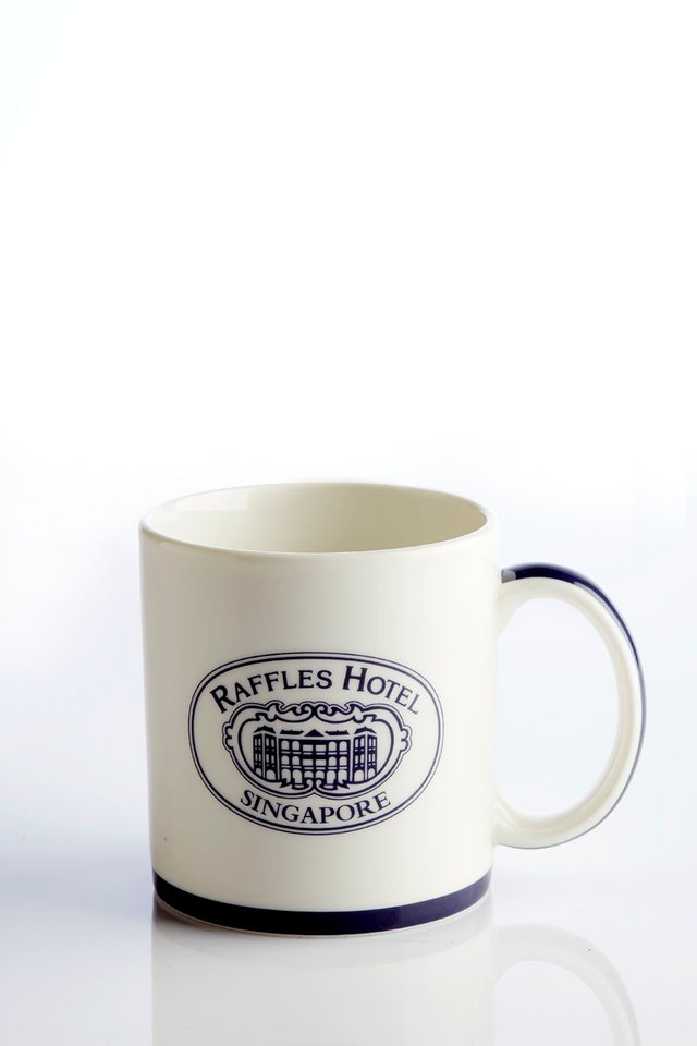 Raffles Coffee Mug with Blue Trim