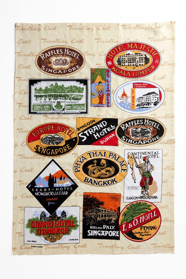 Fine Linen Tea Towel with  Raffles Luggage Labels Design