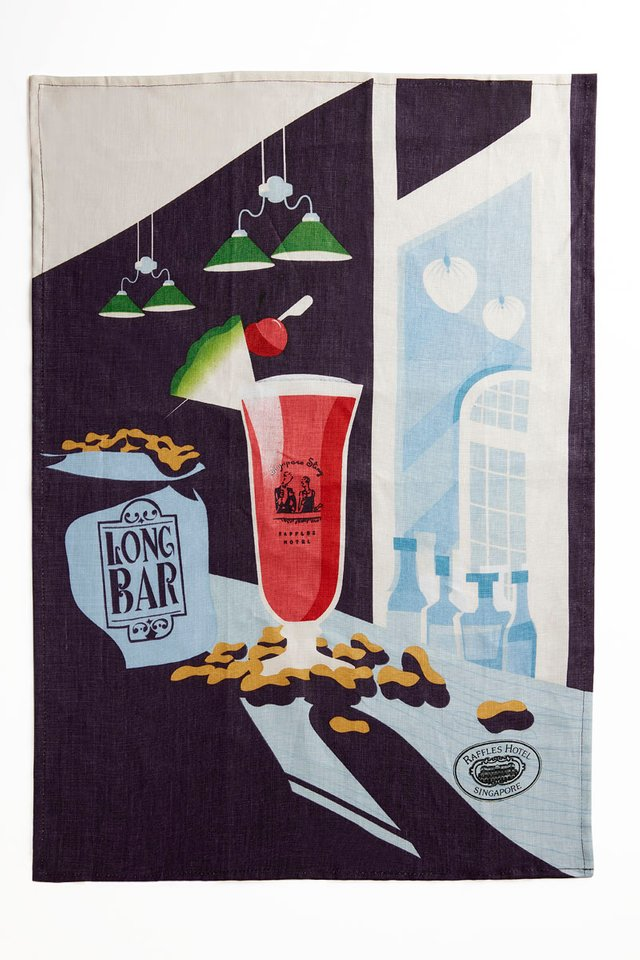 Fine Linen Tea Towel in Raffles Singapore Sling Design