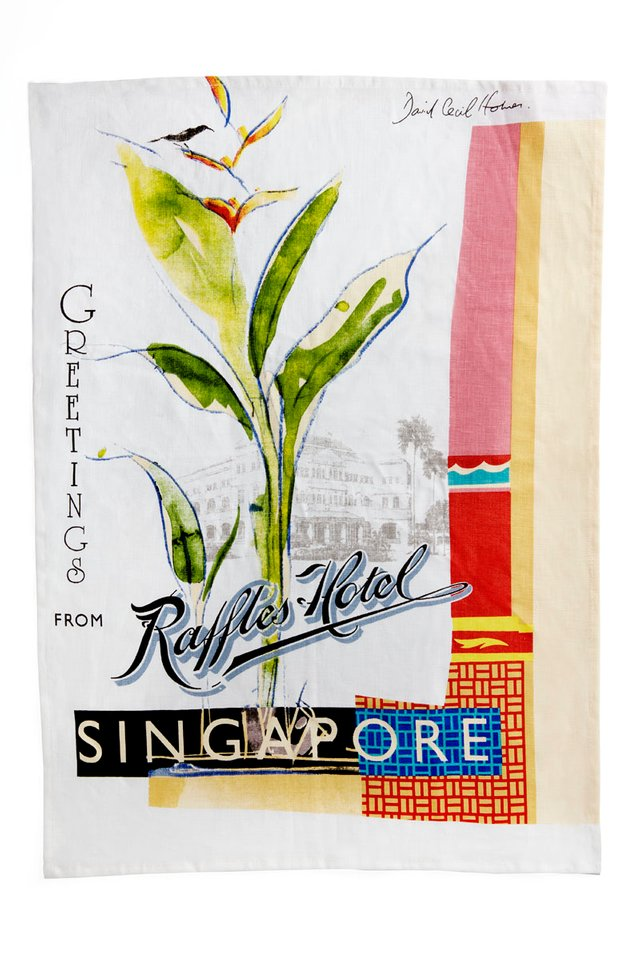 Fine Linen Tea Towel with Raffles Bird of Paradise Design