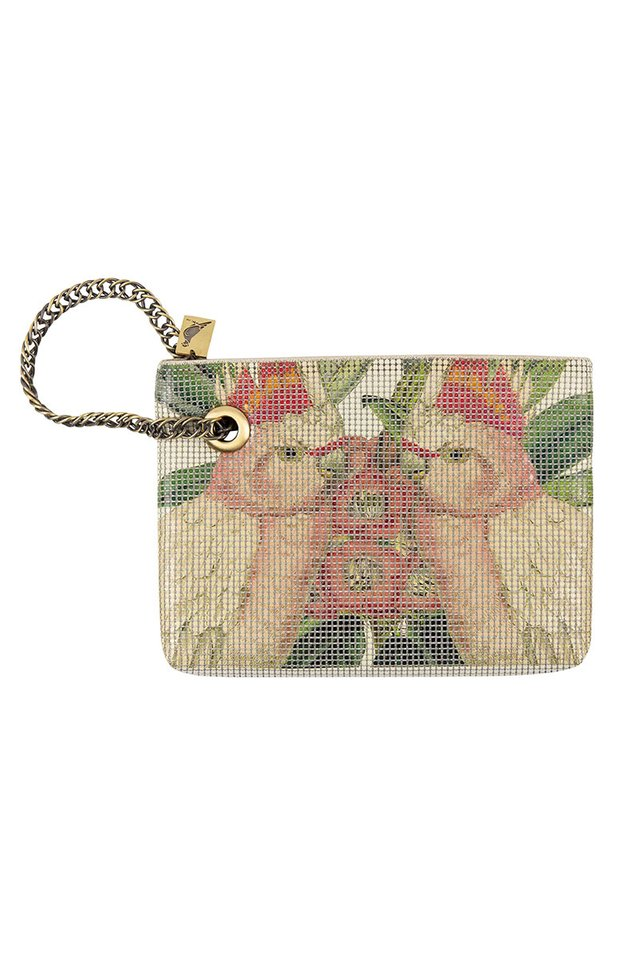 Vintage Style Metal Mesh Bag With Botanical and Bird Print