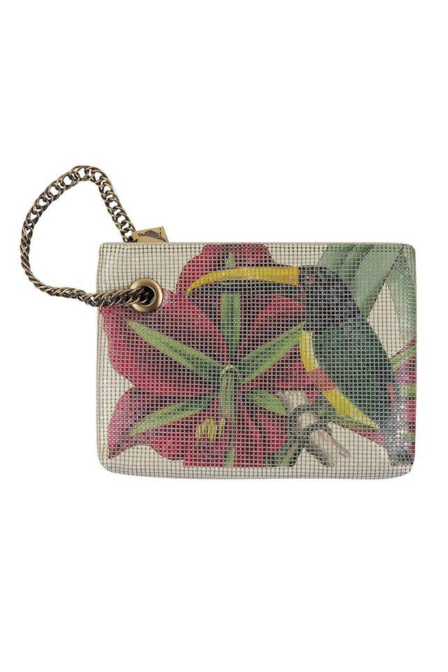 Vintage Style Metal Mesh Bag With Botanical and Bird Print