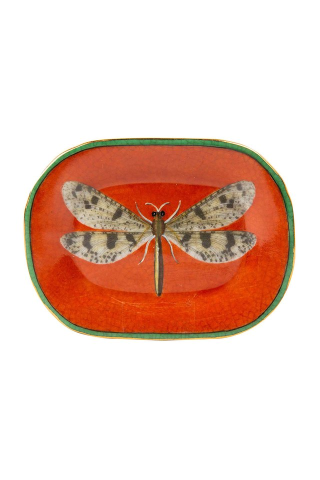 Artisanal Porcelain Dish With Dragonfly Pattern
