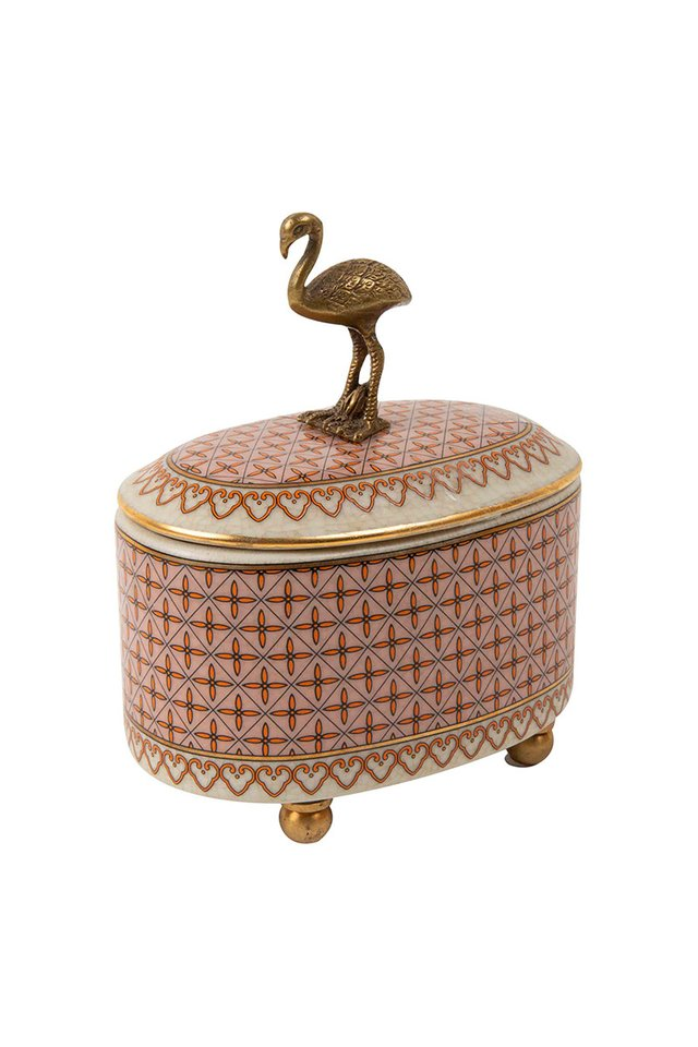 Artisanal Flamingo Porcelain Trinket Box
