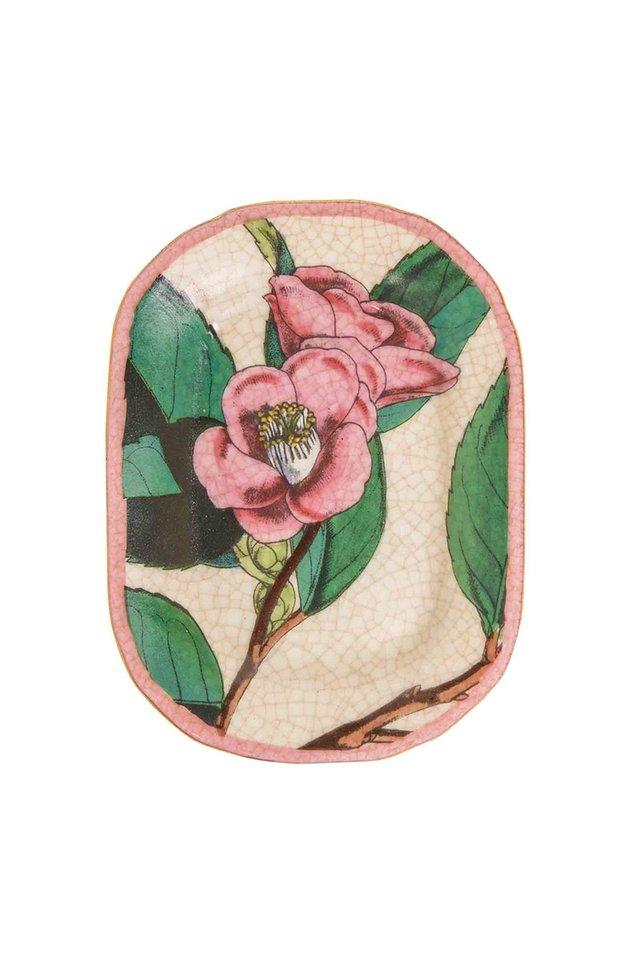 Artisanal Porcelain Dish with Botanical Pattern