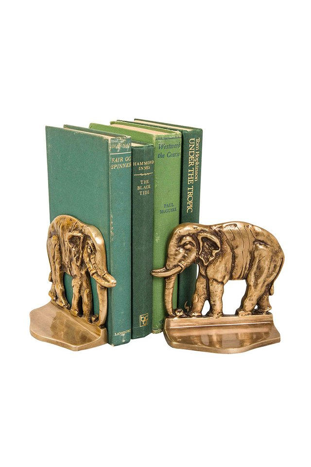 Artisanal Brass Elephant Bookends