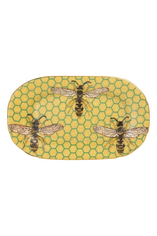 Artisanal Porcelain Dish with Bee and Honeycomb Pattern