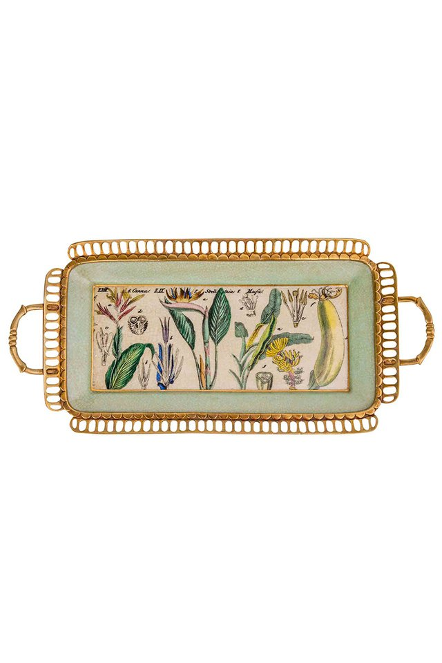 Artisanal Porcelain and Bronze Tray with Botanical Pattern