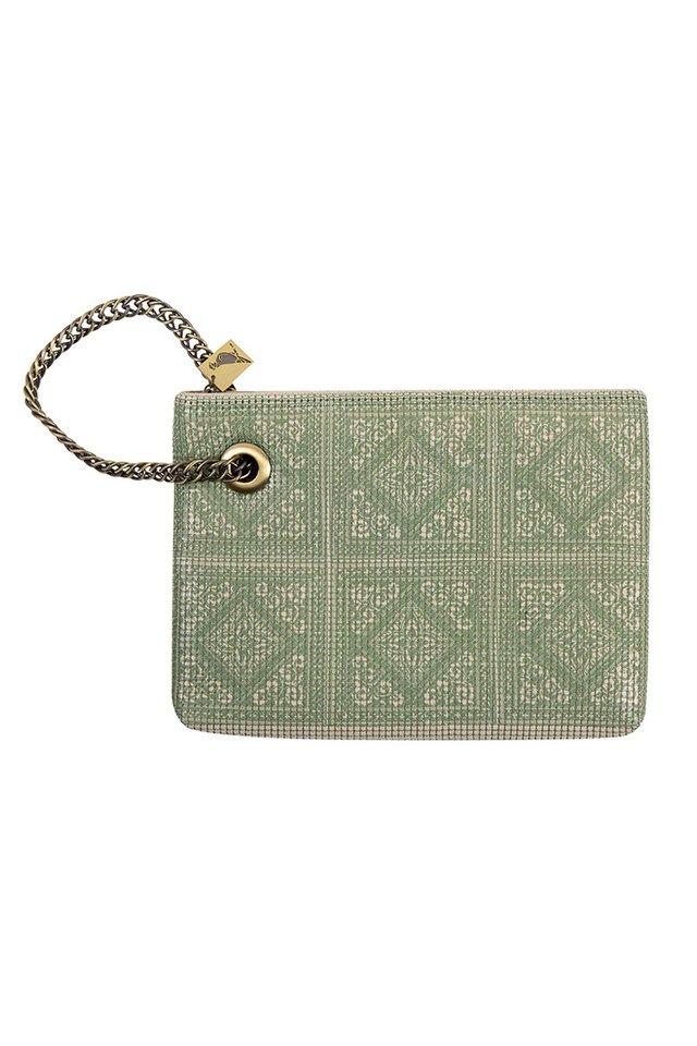 Vintage Style Metal Mesh Bag With Peranakan Style Print