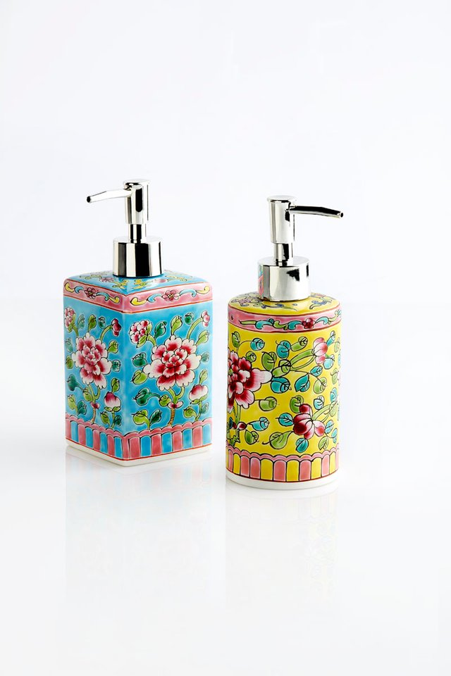 Hand-painted Porcelain Liquid Soap Dispenser with floral motifs