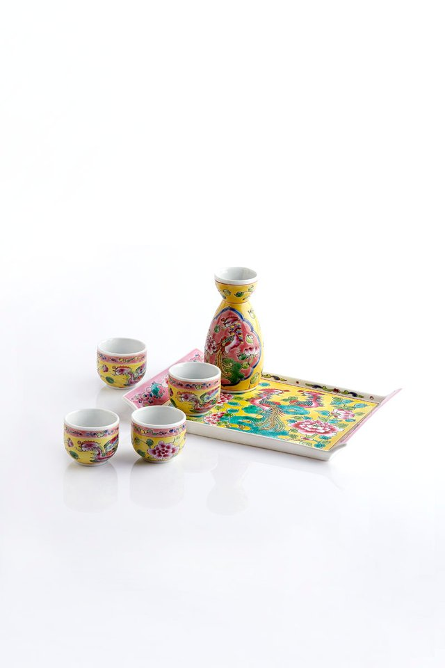 Peranakan Design Hand Painted Japanese Sake Set