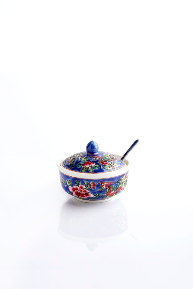 Handcrafted Peranakan Sugar Bowl With Matching Spoon