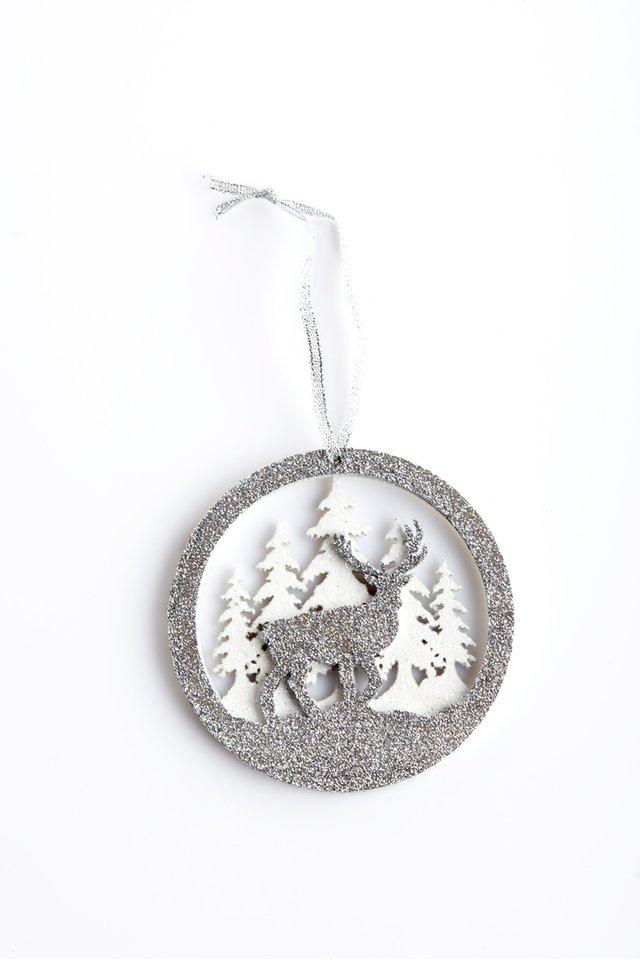 Winter robin & reindeer Ornament